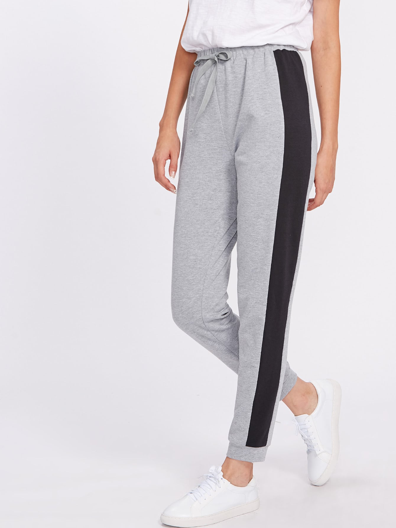 Contrast Panel Heather Knit Drawstring Sweatpants pants170718701