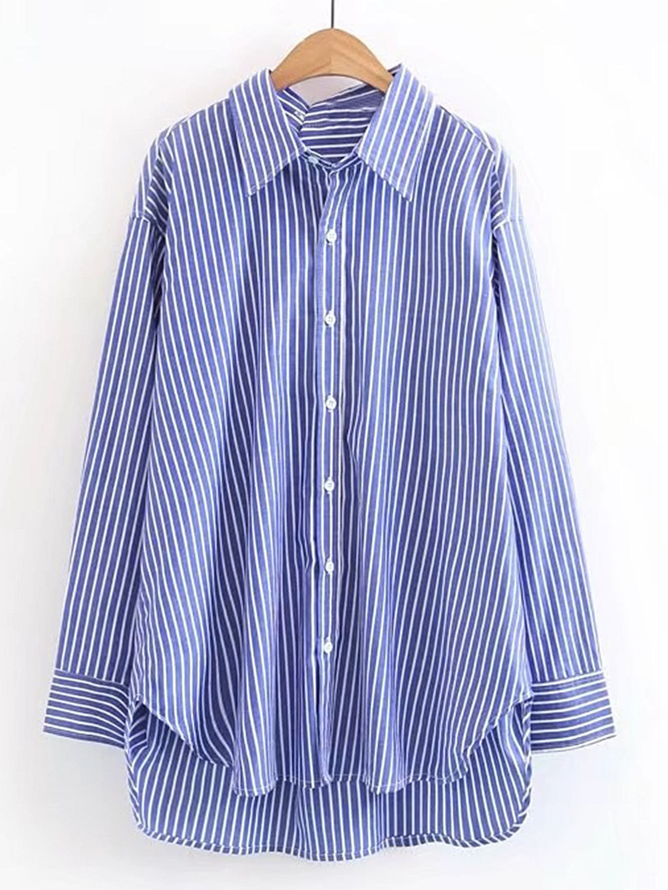 Vertical striped high low shirt dress shein sheinside for Vertical striped dress shirt