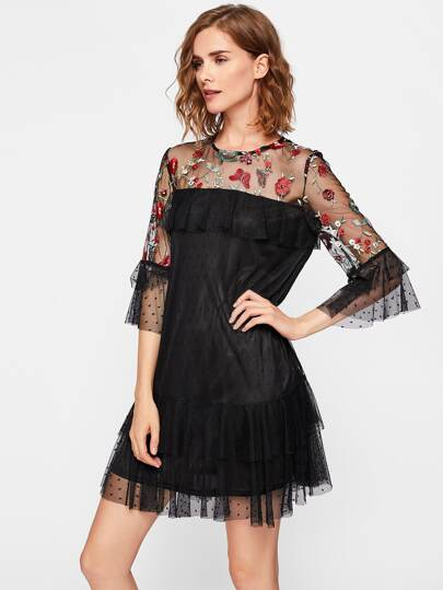 Embroidered Illusion Neck Tiered Dot Mesh Dress