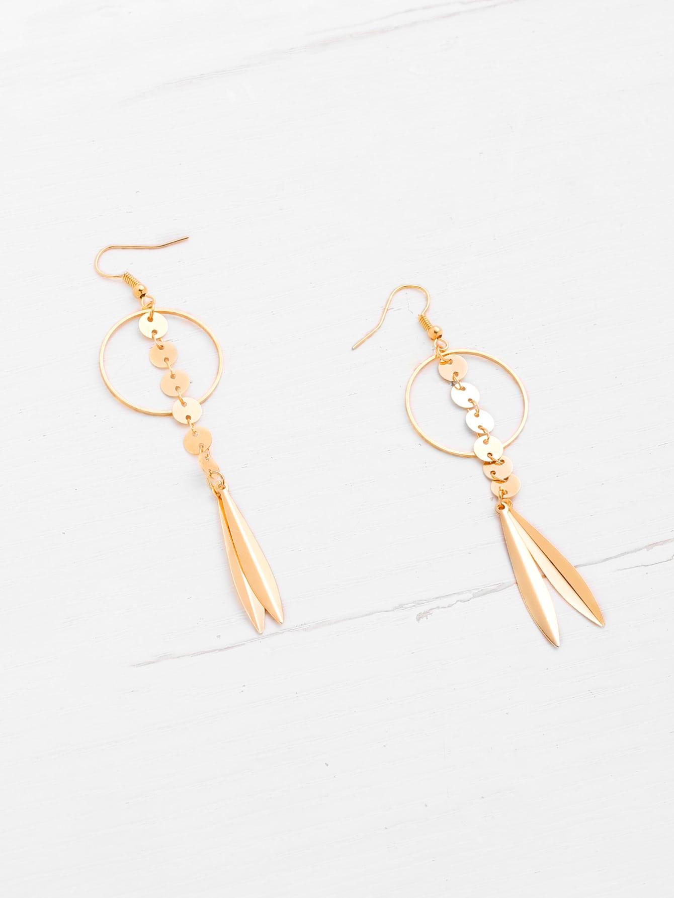 Фото Leaf & Sequin Design Drop Earrings. Купить с доставкой