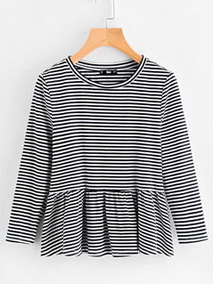 Ruffle Trim Striped Tee
