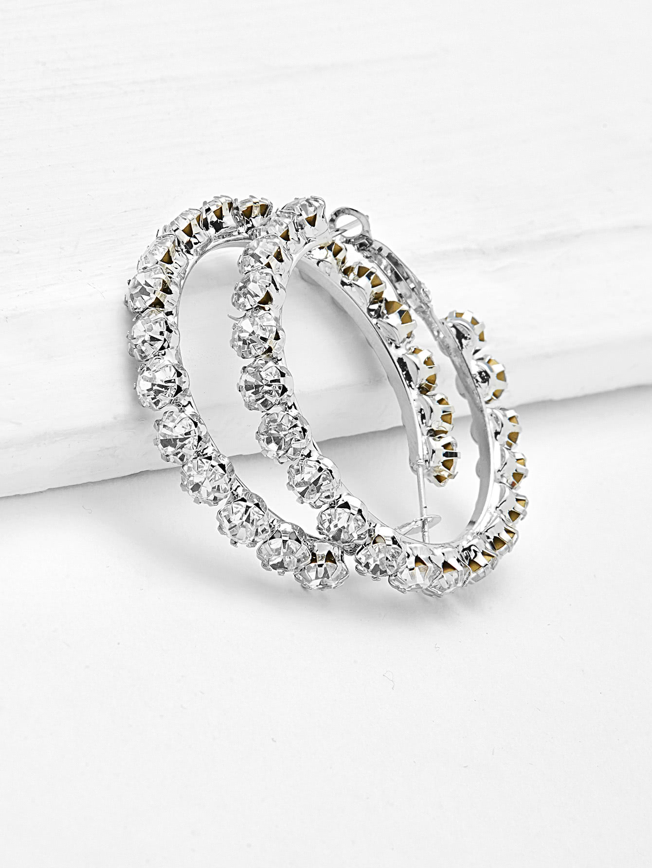 Rhinestone Delicate Hoop Earrings delicate rhinestone anchor earrings