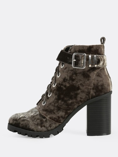 Crushed Velvet Tie Up Textured Sole Bootie KHAKI