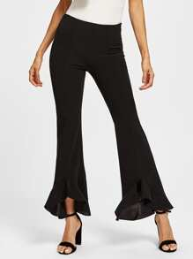 Frill Trim Stepped Hem Pants