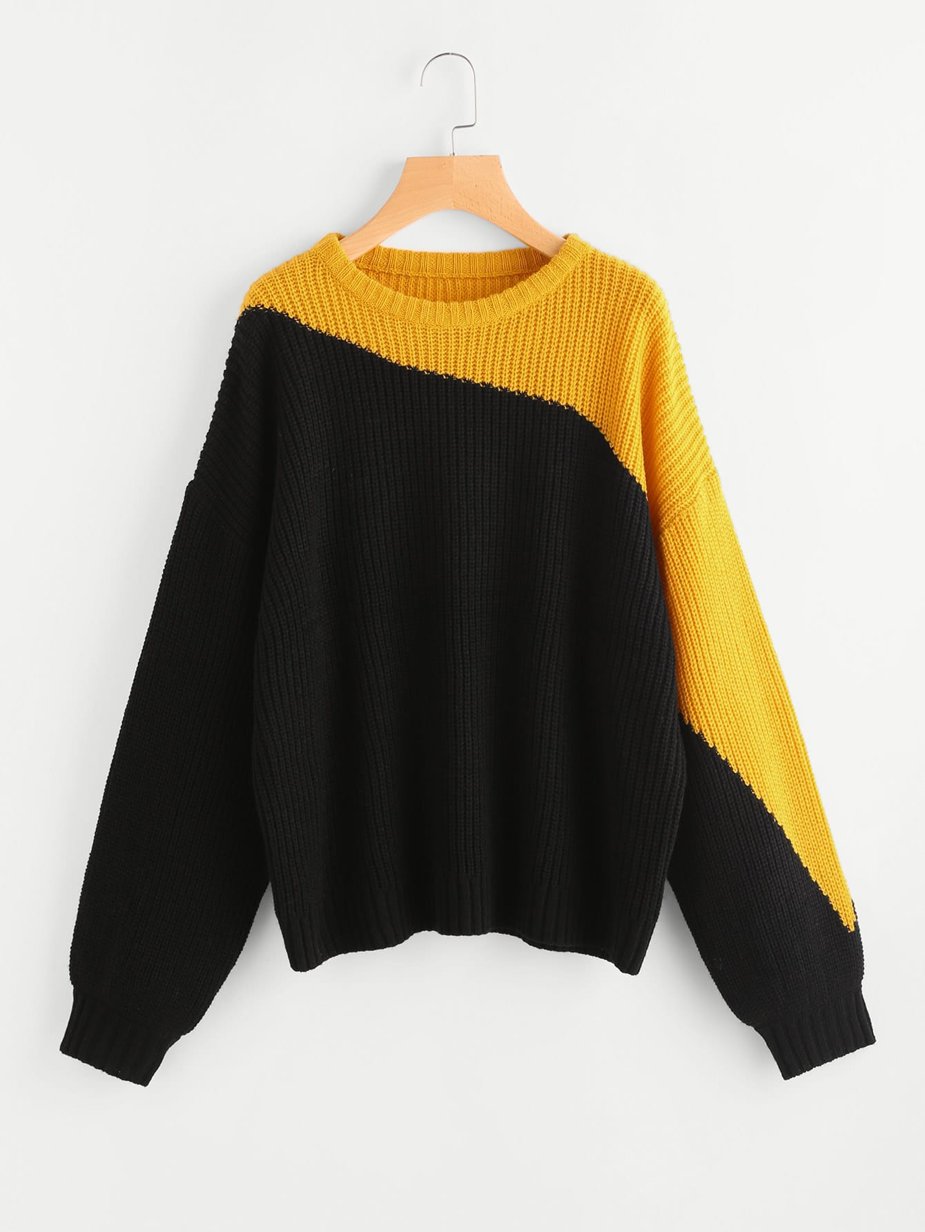 Two Tone Drop Shoulder Jumper two tone drop shoulder sweatshirt