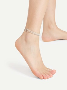 Bead Design Layered Chain Anklet With Rhinestone