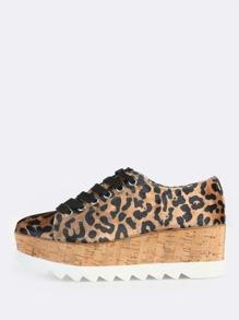 Leopard Print Velvet Flatforms LEOPARD