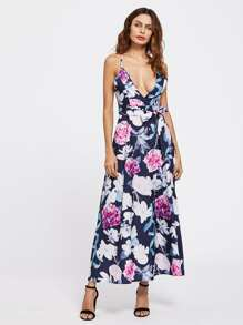 Random Florals Open Back Surplice Dress