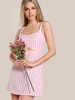 Cutout Midriff Gingham Pinafore Dress