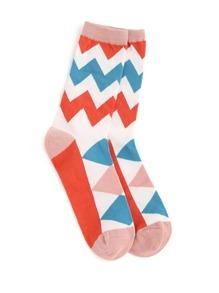 Zigzag Calf Length Socks