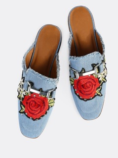 Rose Embroidered Loafer Slides LIGHT DENIM