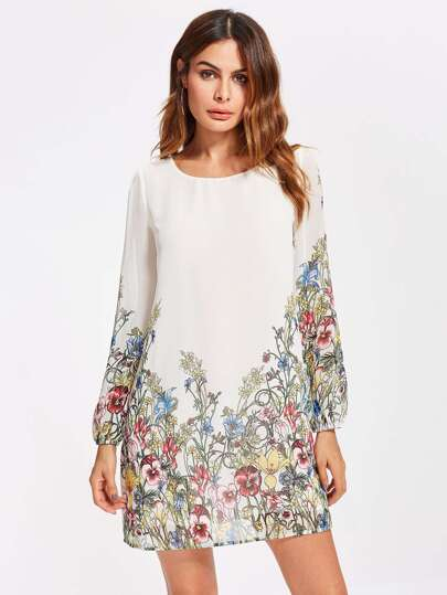 Botanical Print Tunic Dress