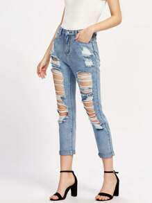 Faded Wash Destroyed Jeans