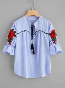 Fringe Tie Neck Embroidered Applique Stripe Blouse