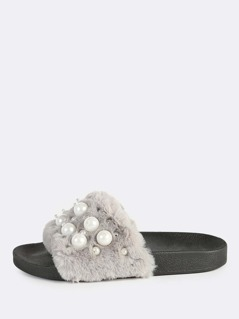 Faux Fur Pearly Slides GREY