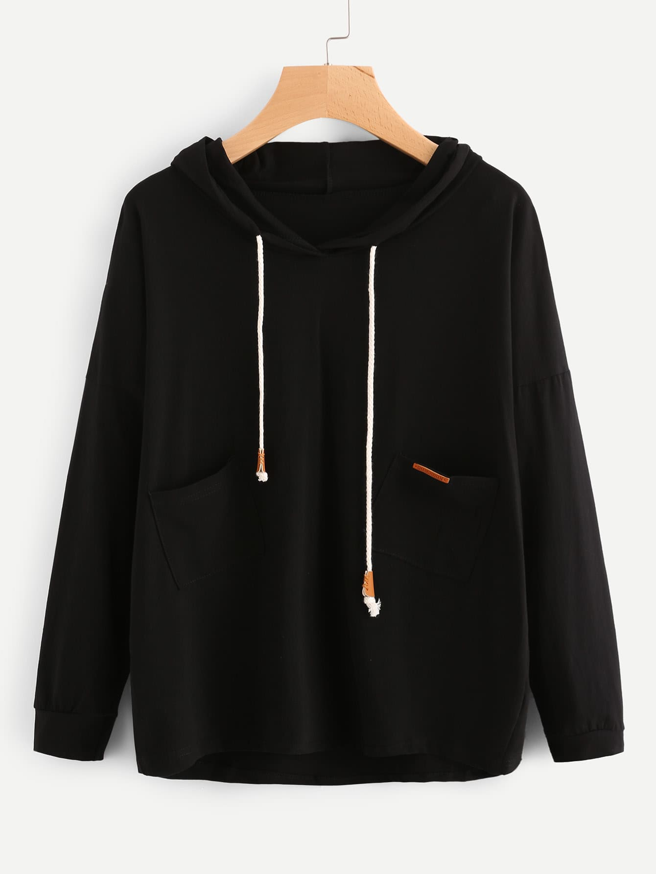 Patch Detail Drawstring Hoodie