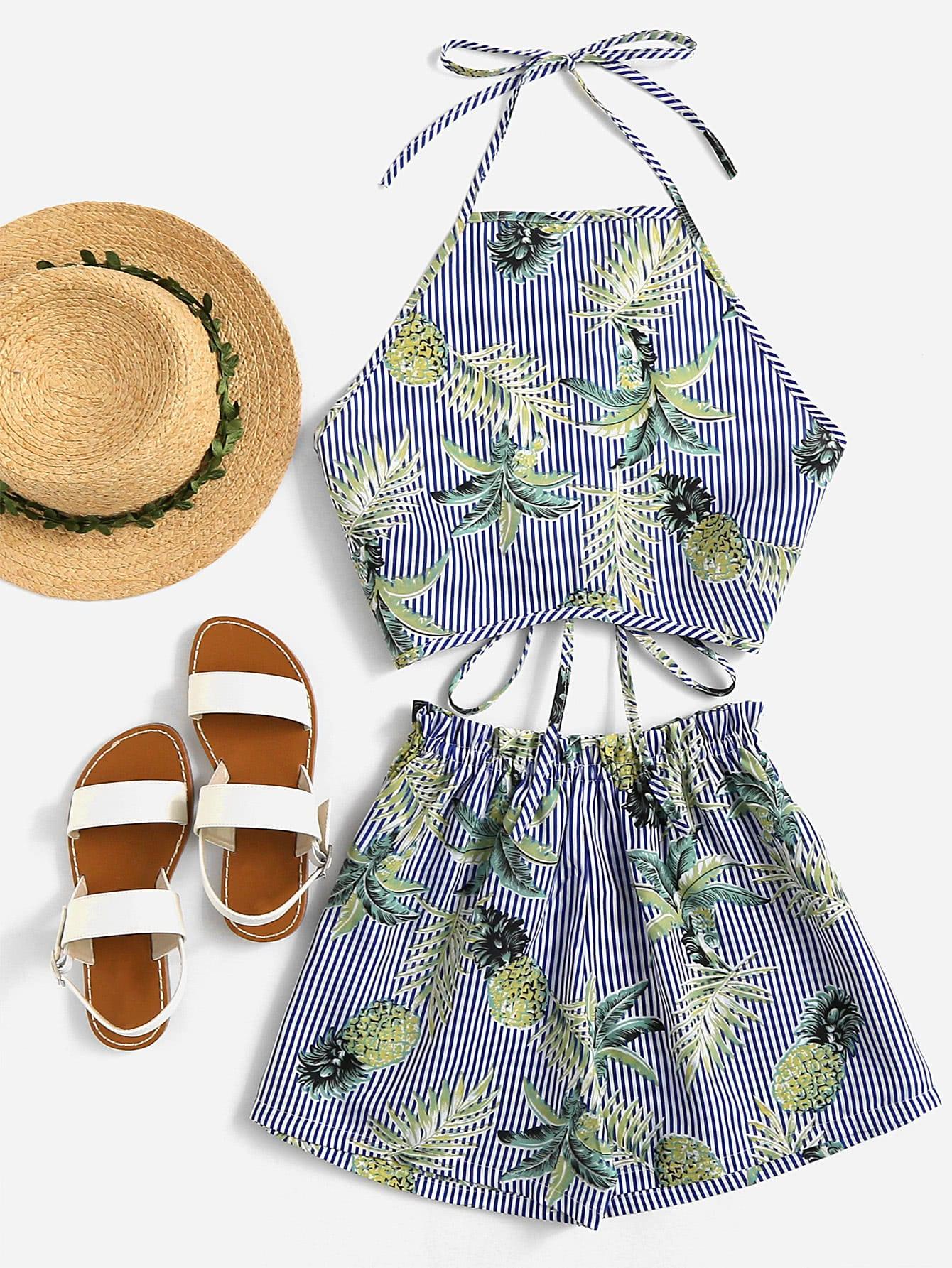 Фото Foliage Print Striped Crop Halter Top With Shorts. Купить с доставкой