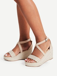 Criss Cross Woven Wedge Sandals