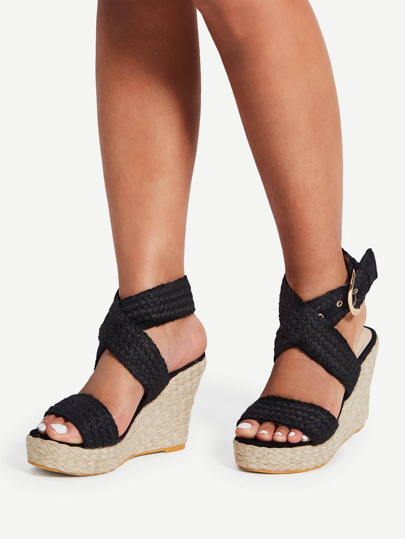 Фото Braided Design Criss Cross Wedge Sandals. Купить с доставкой