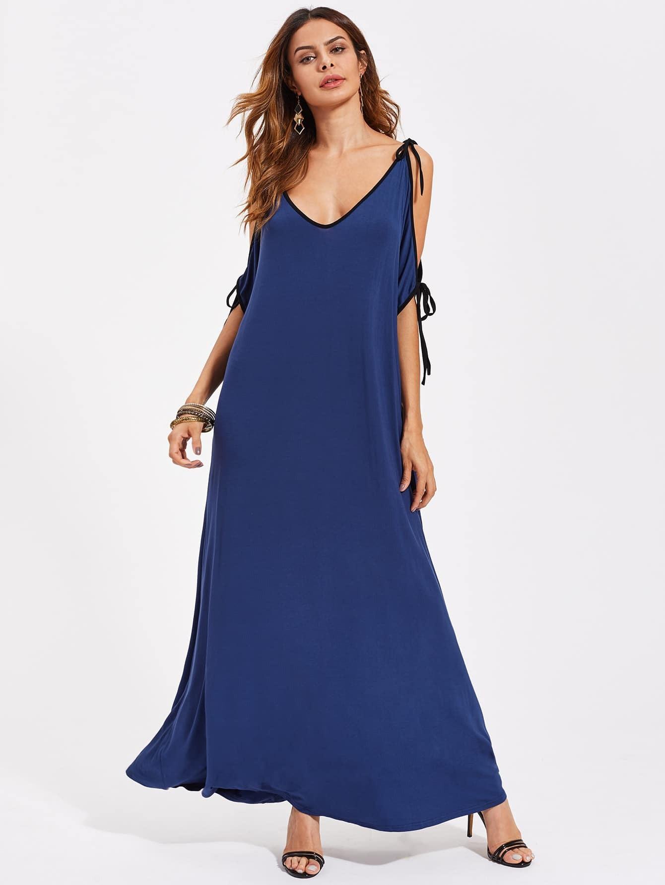 Фото Contrast Binding Tied Open Shoulder Dress. Купить с доставкой
