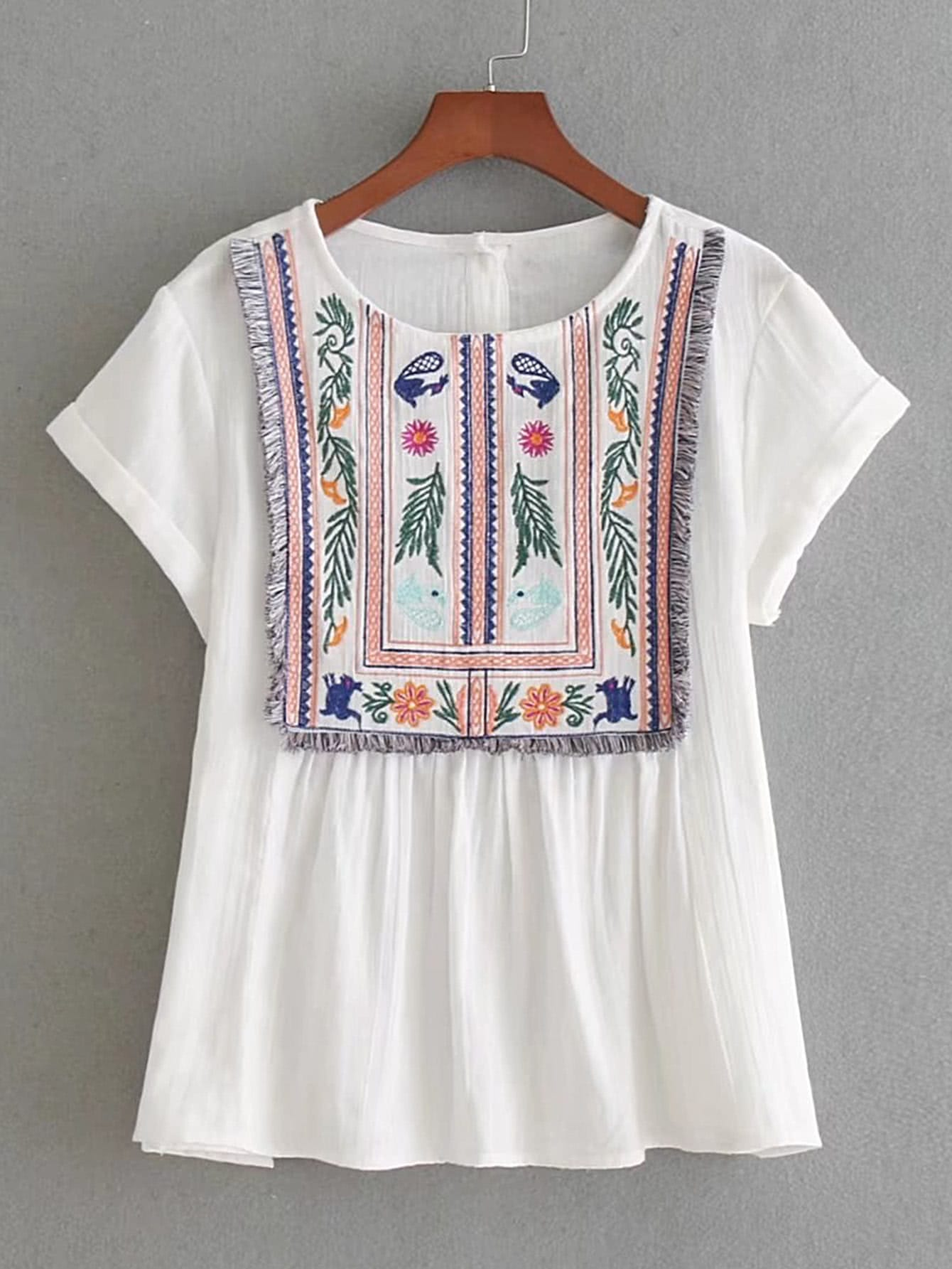 цены  Rolled Cuff Fringe Trim Embroidery Top