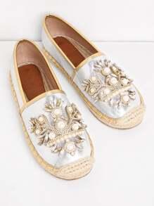 Kappe Zehe flache Schuhe mit Kunstperlen und Strass