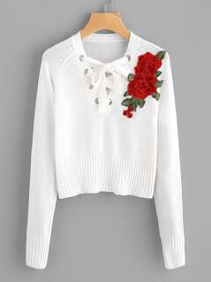 3D Flower Applique Lace Up Jumper