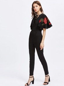Rose Embroidery Applique Flutter Sleeve Tied Neck Jumpsuit