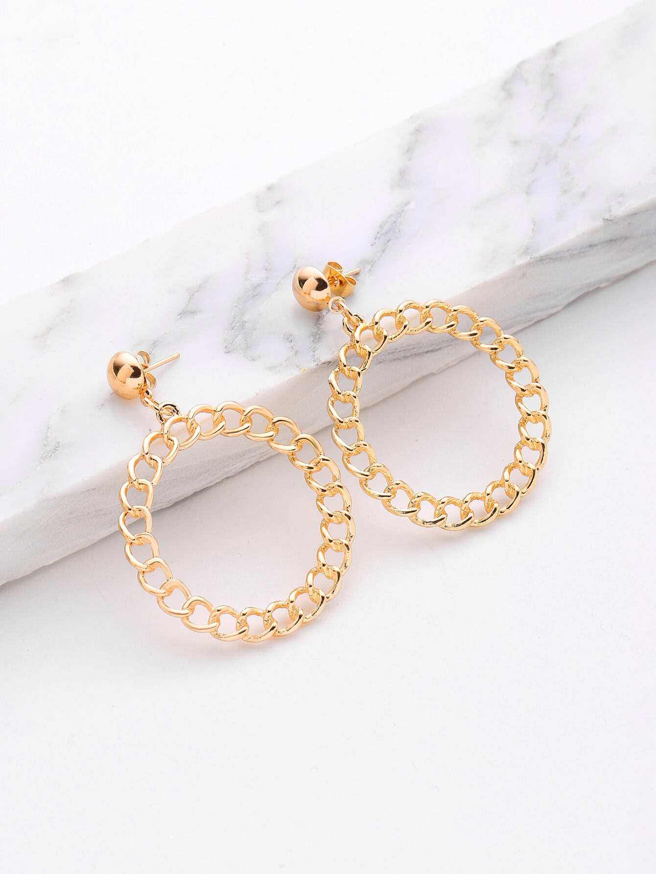 Hollow Circle Design Hoop Drop Earrings