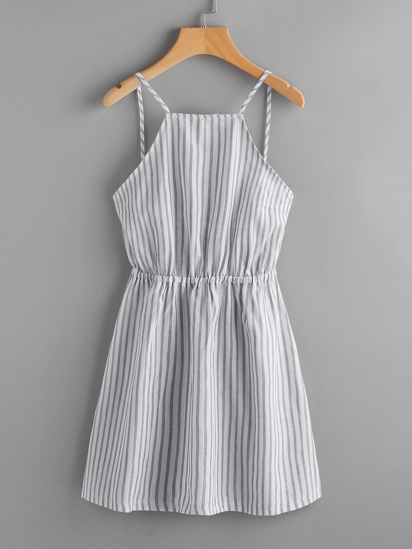 Vertical Striped Bow Tie Open Back Cami Dress bow tie striped cami jumpsuit