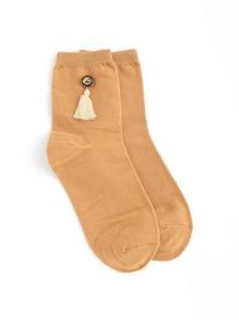 Calcetines tobilleros con decoración de borla