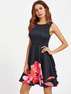 Flower Print Fit & Flare Dress