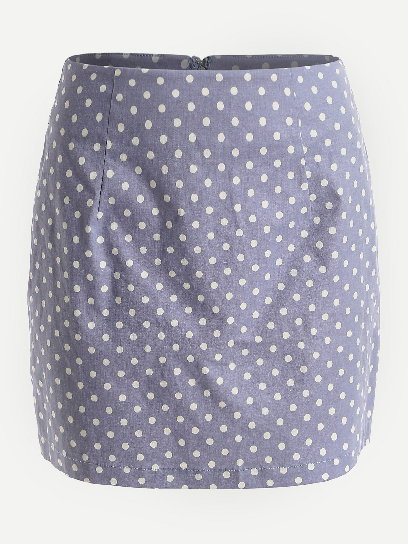 Polka Dot Print Invisible Zip Back Skirt