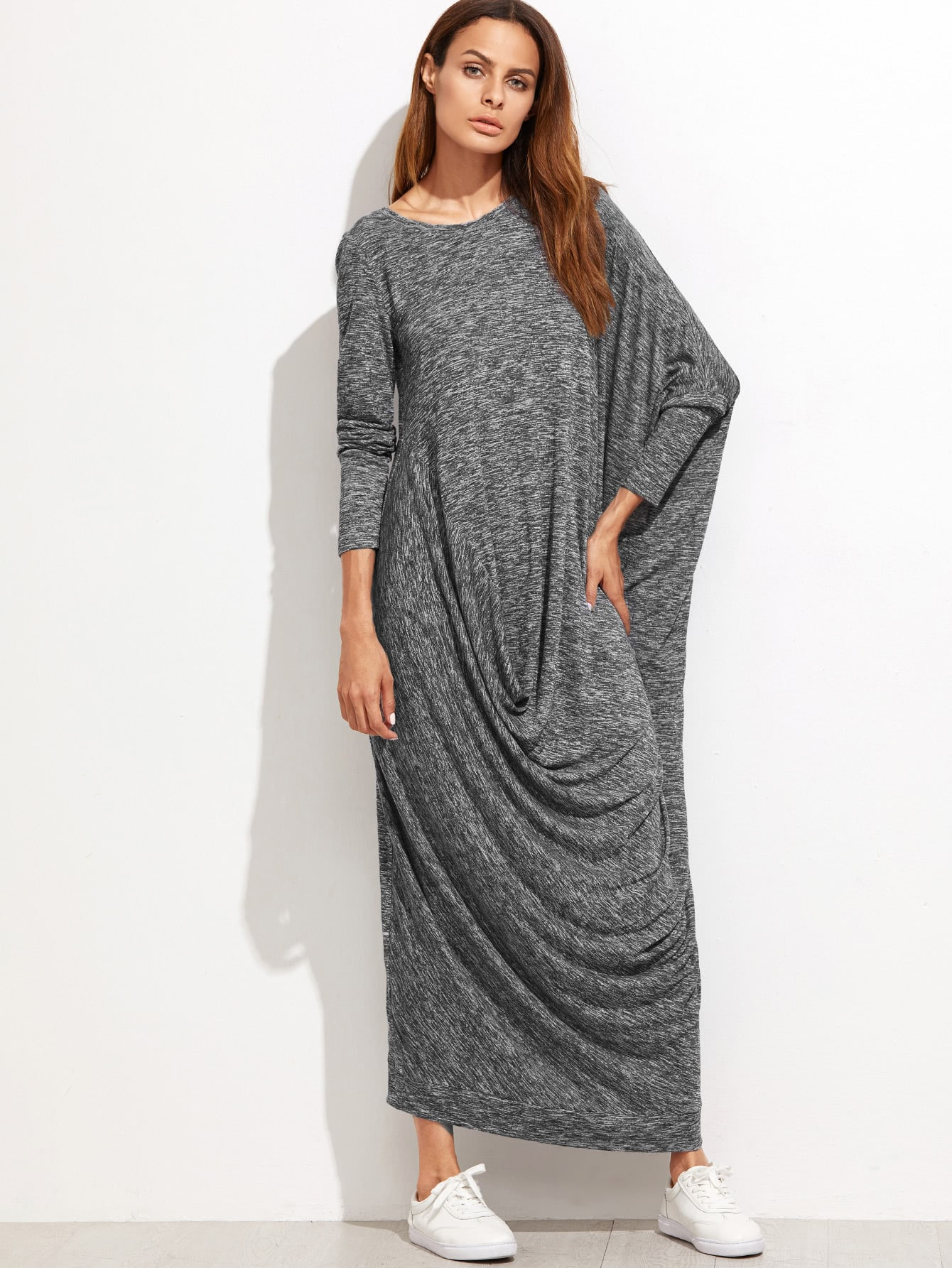 Marled Knit Dolman Sleeve Draped Cocoon Dress raglan sleeve marled knit dress