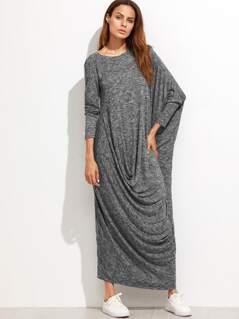 Marled Knit Dolman Sleeve Draped Cocoon Dress