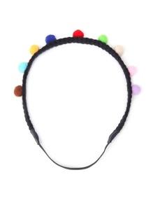 Pom Pom Design Braided Headband