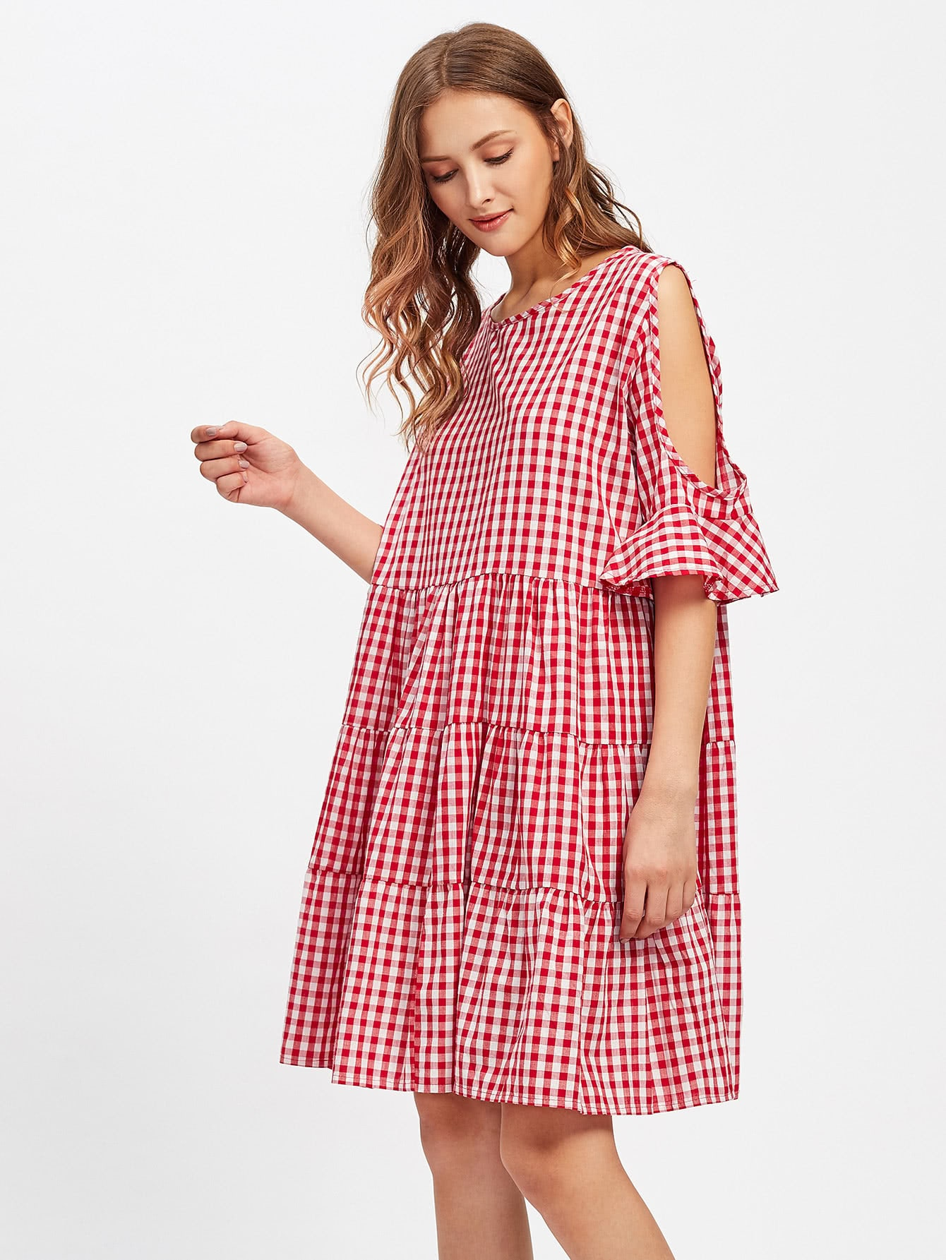 Open Shoulder Frill Cuff Tiered Peasant Gingham Dress contrast lace cuff frill detail smocked gingham dress