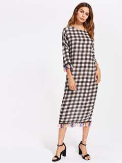 V Cut Back Tassel Trim Checkered Cocoon Dress