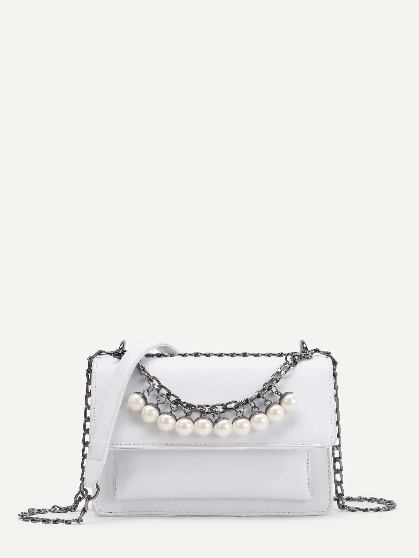 Фото Faux Pearl Embellished PU Cross Body Bag. Купить с доставкой