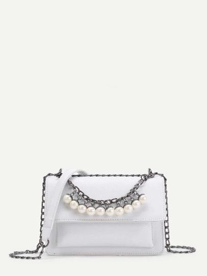 Faux Pearl Embellished PU Cross Body Bag