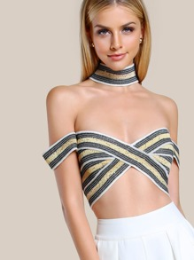 Sequin Strappy Crop Top GOLD IVORY