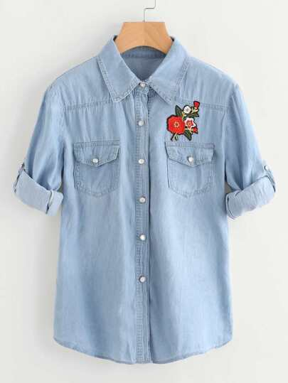 Rolled Sleeve Floral Patch Shirt