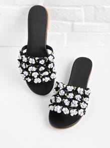 Flower Embellished Slip On Sandals