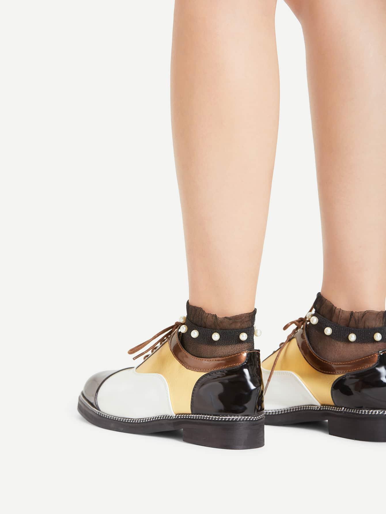 Фото Faux Pearl Detail Mesh Socks. Купить с доставкой