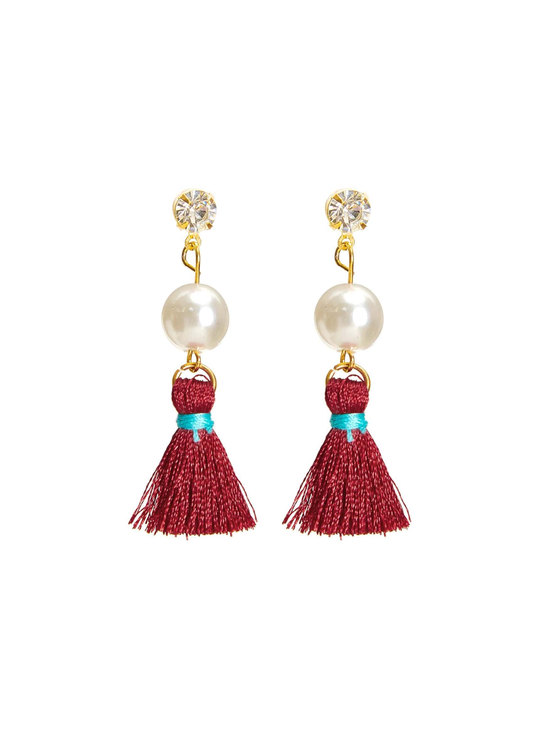 Фото Rhinestone & Faux Pearl Tassel Earrings. Купить с доставкой