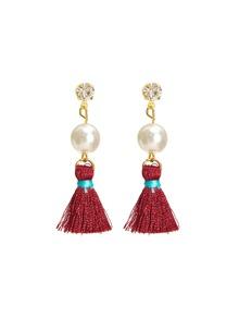 Rhinestone & Faux Pearl Tassel Earrings
