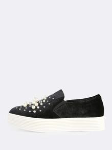 Faux Velvet Pearl Top Platform Sole Sneaker BLACK