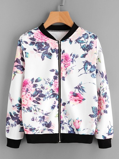 Floral Print Contrast Trim Zip Up Jacket