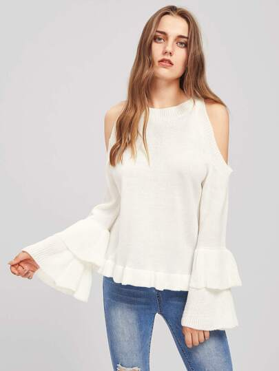 Open Shoulder Tiered Fluted Sleeve Jumper