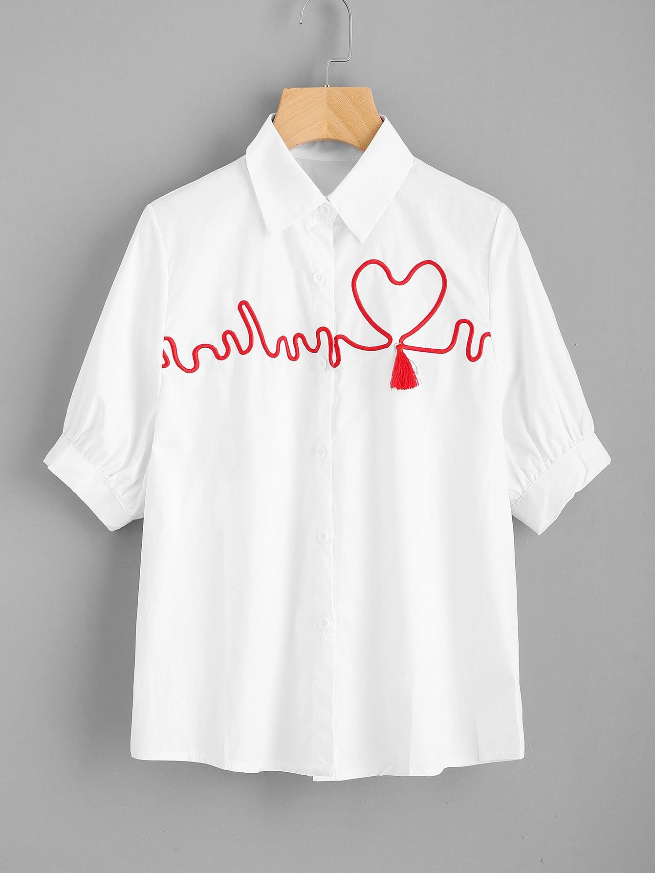 Фото ECG Wave Embroidery Tassel Detail Shirt. Купить с доставкой